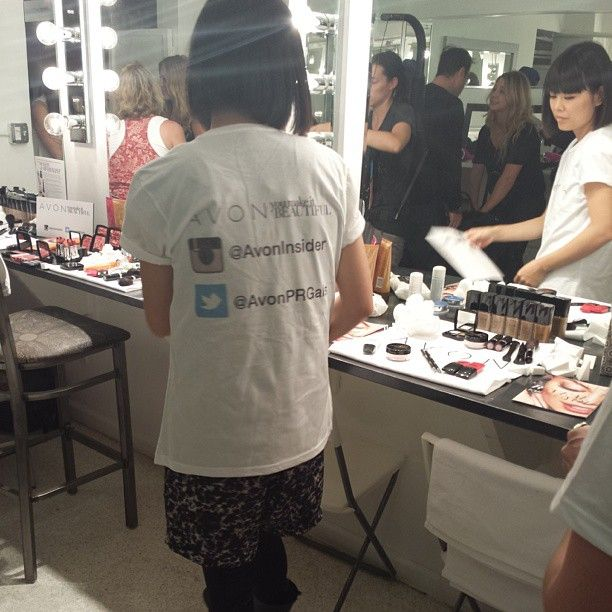 How cute are the shirts that #avonmakeup team is wearing!!! Avon is in fashion week!!! #NYFW #behindthescenes #bts #spring2014 #ss14 #mbfashionweek #backstage #hair #makeup #ejss14 #makeupmaven