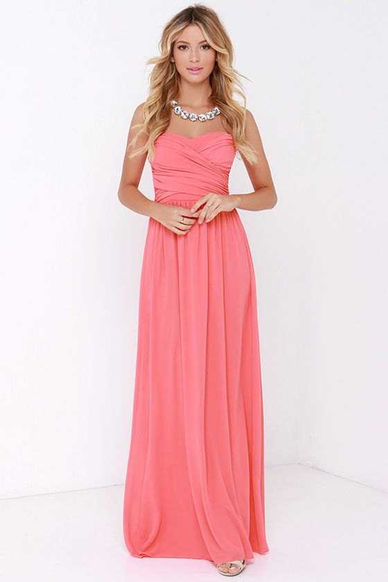 Royal Engagement Strapless Coral Pink Maxi Dress | Maxi dresses ...