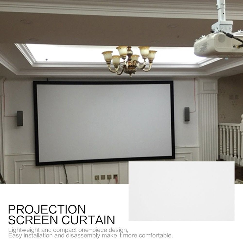 Projection Screen Curtain 16 9 Non Woven Fabric White Soft