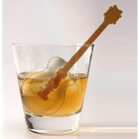 Guitar-shaped ice cubes:  Cool Jazz Guitar Ice Cube Stirs