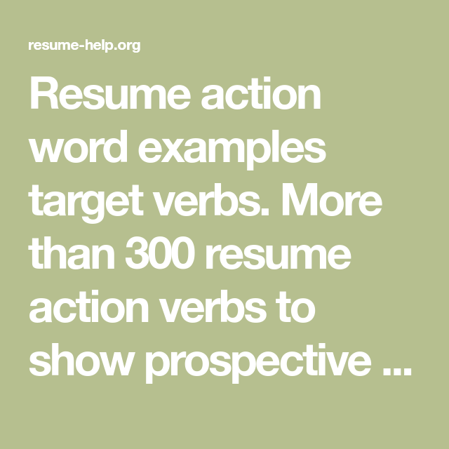 resume action word examples target verbs  more than 300