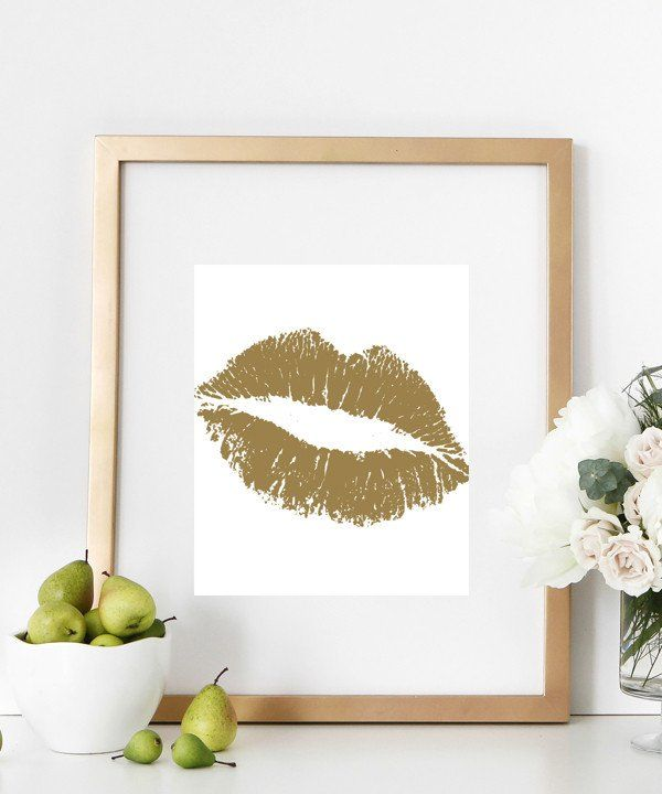 fun gold living room decor. Gorgeous fashionable and fun gold lips print poster that would woo your  loved ones heart Lips Gold Kiss art Print