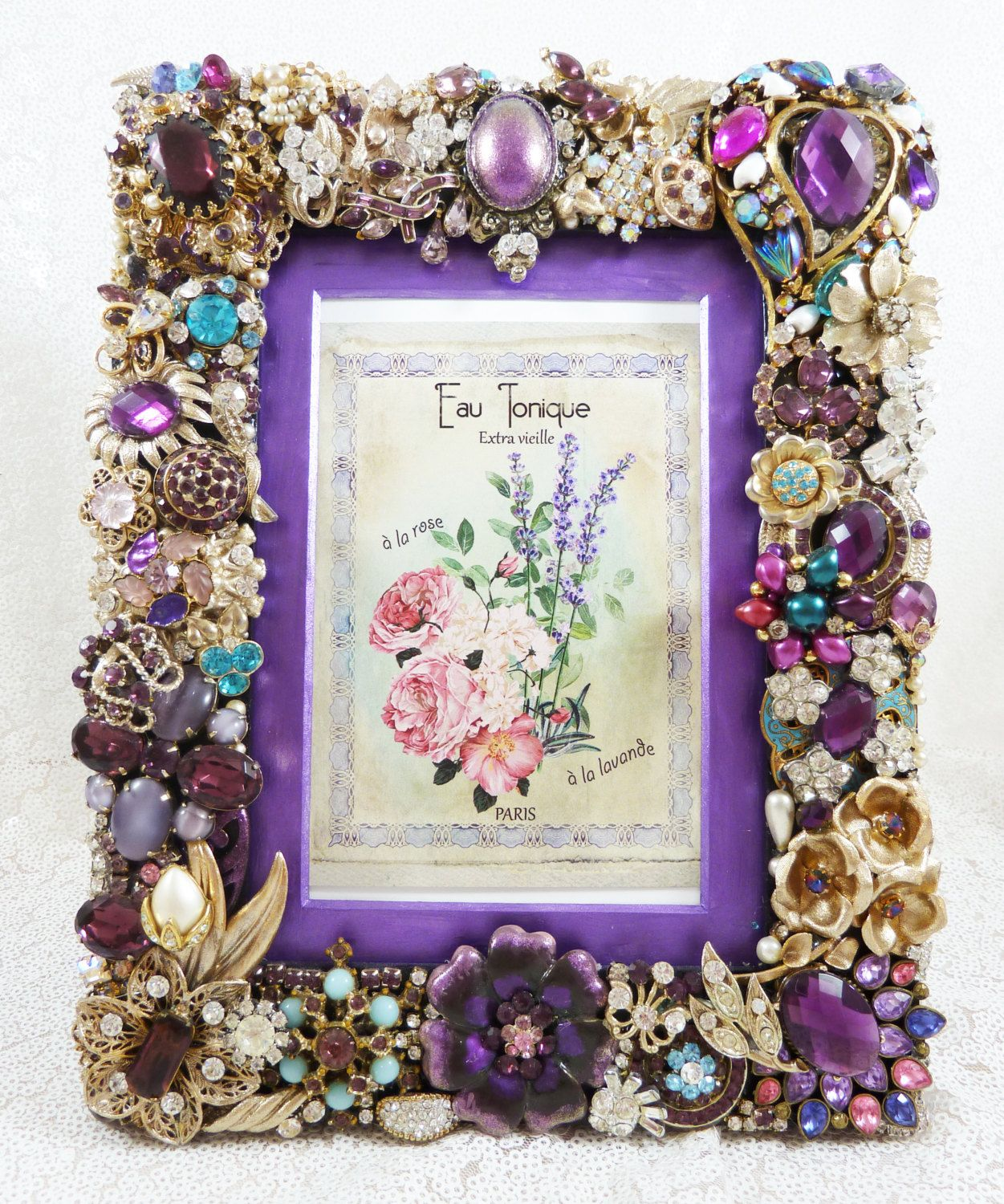 Dazzling Jeweled Picture Frame, Purple, One of a Kind ...