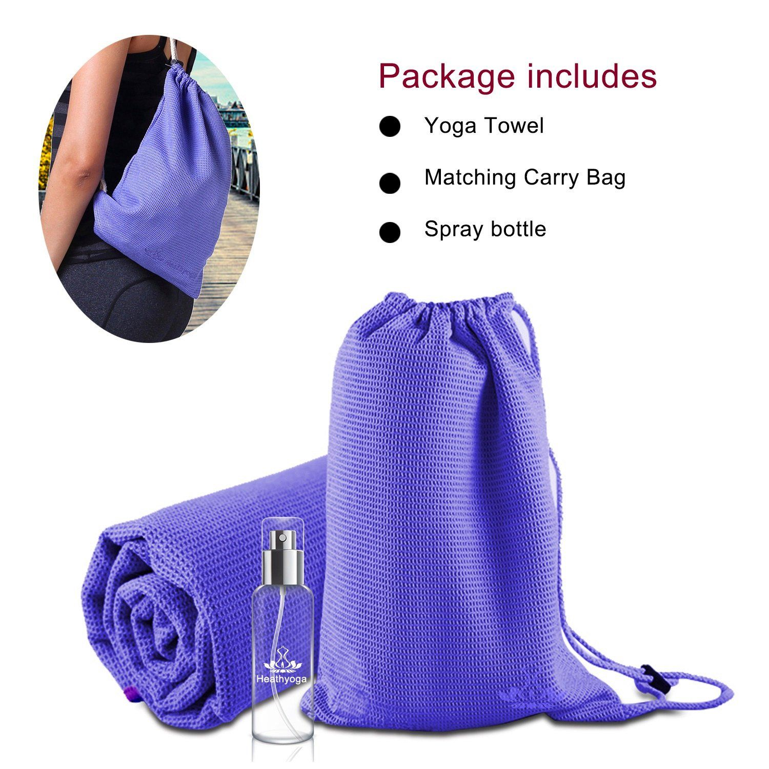 Perfect for Hot Yoga Heathyoga Non Slip Yoga Towel Bikram and Pilates Microfiber and Silicone Coating Layer Free Carry Bag and Spray Bottle Exclusive Corner Pockets Design