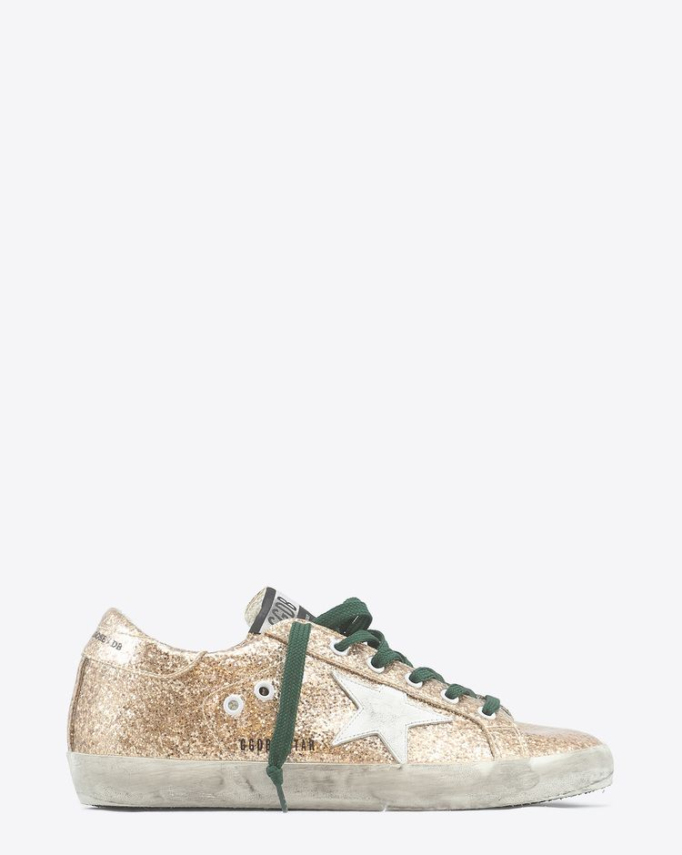 Golden Goose Woman   Sneakers Superstar - Gold Glitter Emerald Lace Wedding  Sneakers 52d837834c18