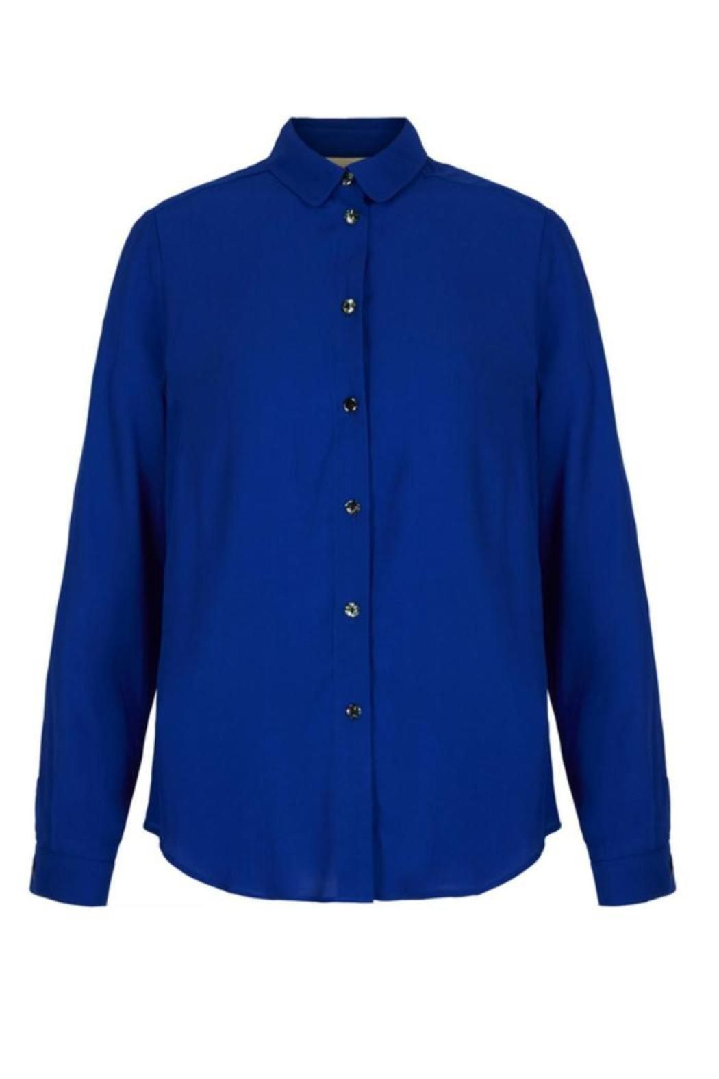 This shirt will be one of the most versatile pieces in your wardrobe. It features long sleeves, shell buttons, and a button up front. Team with everything from skirts to jeans for easy, bang on trend style. Machine washable.    Measures: 63 cm    Royal Blue Shirt by Yumi. Clothing - Tops - Blouses & Shirts Clothing - Tops - Long Sleeve London