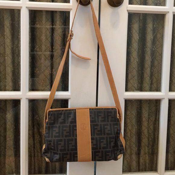 Vintage Fendi Zucca Bag Crossbody Bag W Leather Bags Crossbody Bag Fendi