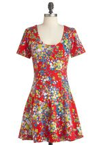 Chicka Bloom Dress in Red