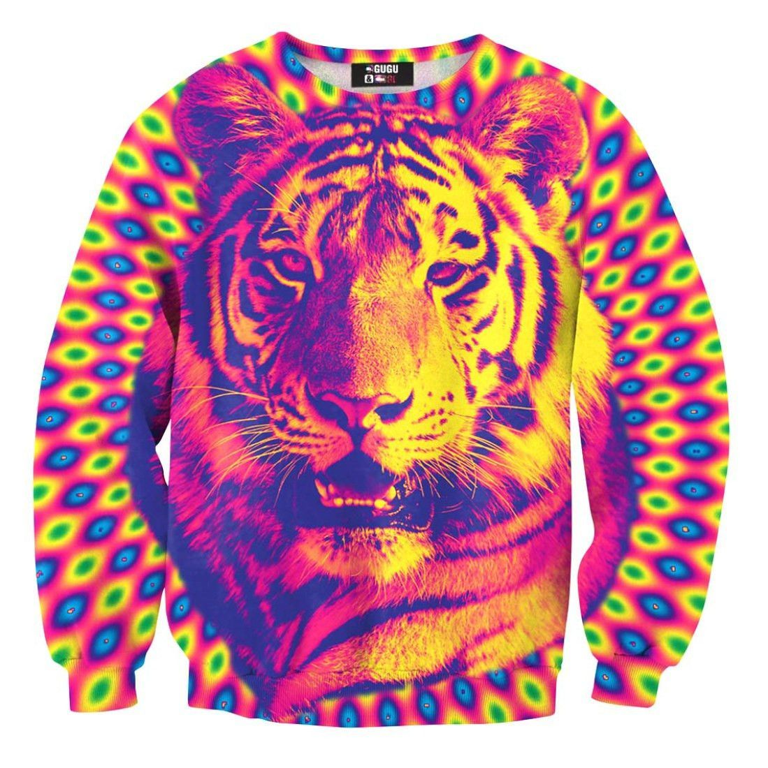 e34008f90b02b7 Psychedelic Trippy Tiger Face Graphic Rainbow Print Unisex Pullover  Sweatshirt Sweater