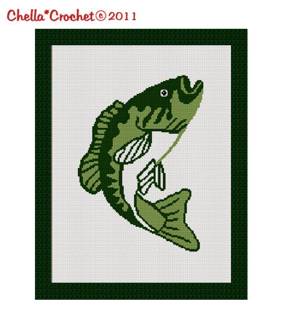 INSTANT DOWNLOAD Bass Fish Big Mouth Fly Fishing Blanket Afghan ...