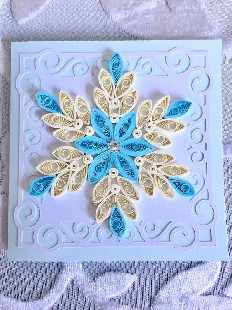 Handmade 3D Christmas card Seasonal greeting card Quilling card Greeting Cristmas card Handmade Quilled Card with Snowflake Xmas card