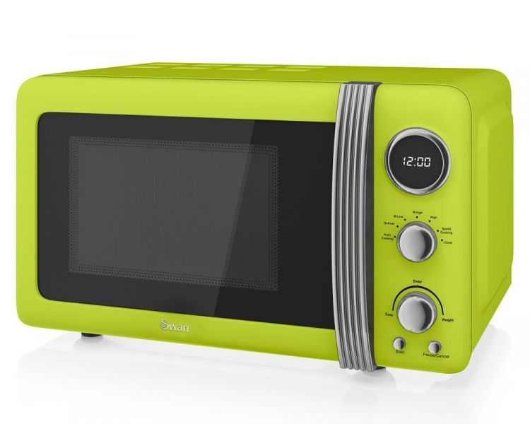 Lime green,microwave,kettle and toaster