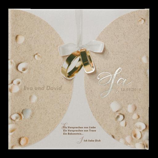 Hochzeitskarte Maritim Mit Muscheln Im Sand Auf Transparent Ringen