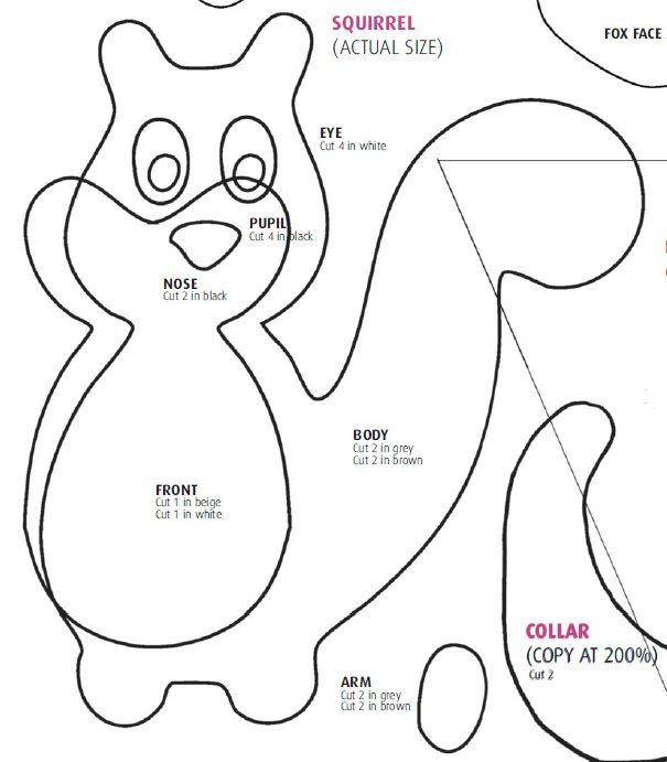 Squirrel template | Crafts: Fun With Felt | Pinterest | Squirrel ...