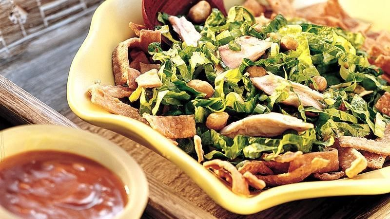 Creamy peanut sauce turns deli-roasted chicken into a super quick and special salad.