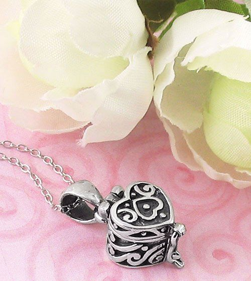 Heart Prayer Box Necklace in Sterling Silver Prayer box necklace