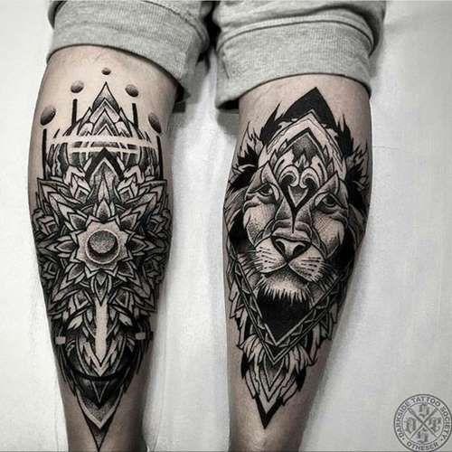 mandala and lion leg tattoos tattoos pinterest leg tattoos mandala and lions. Black Bedroom Furniture Sets. Home Design Ideas