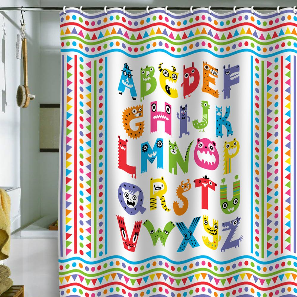 Andi Bird Alphabet Monsters Shower Curtain | Kid bathrooms ...