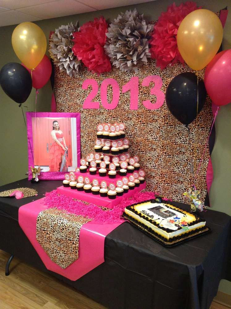 Hot Pink Gold Black And Leopard Print Graduation End Of