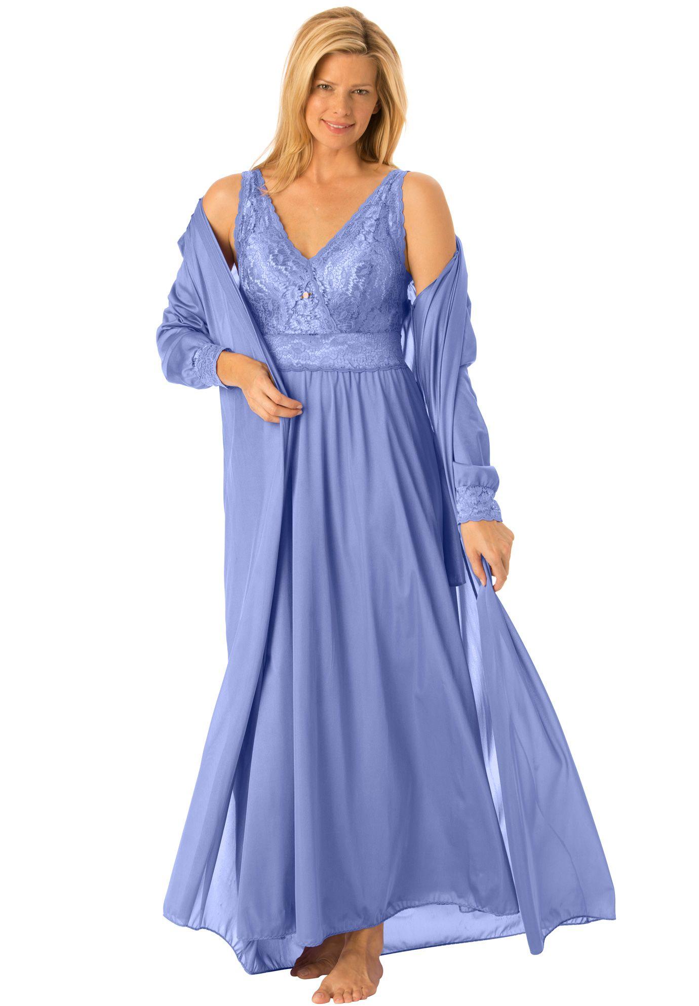 Lace dress nightwear  Plus Size Long tricot peignoir set  Nightwear  Pinterest