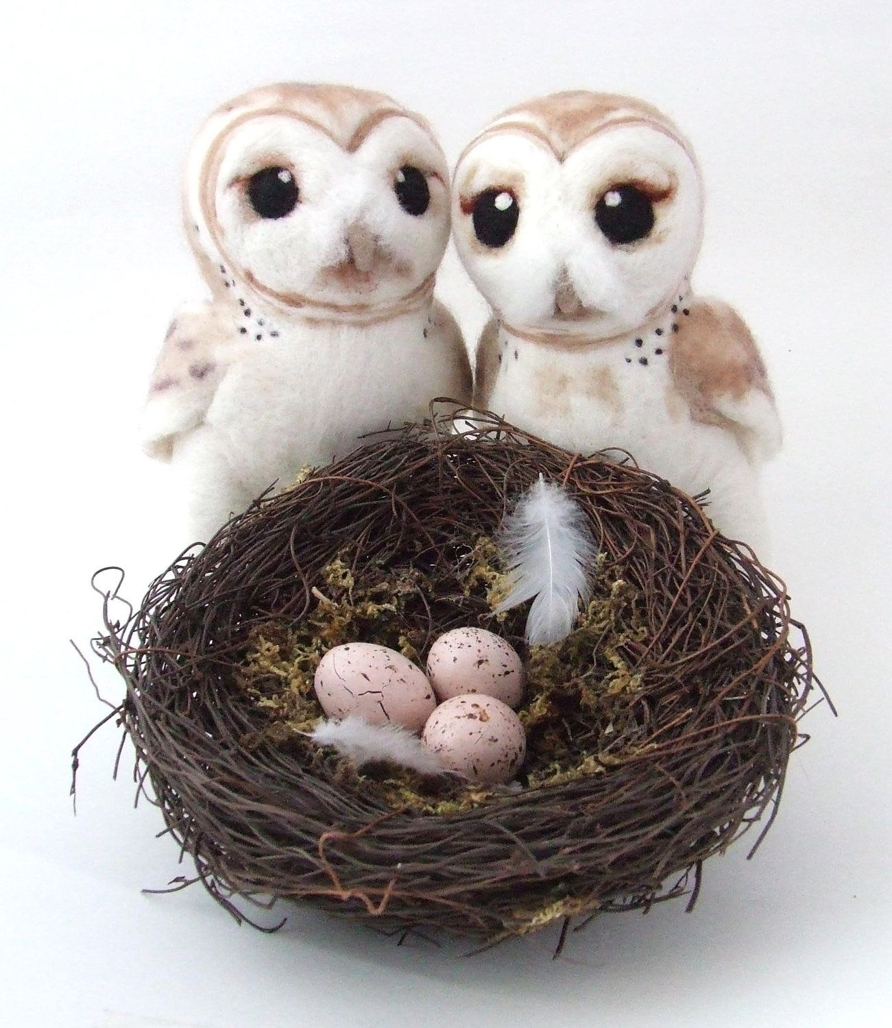 Needlefelted Barn Owl Life Sized Collectible Art Doll Owl. , via Etsy.