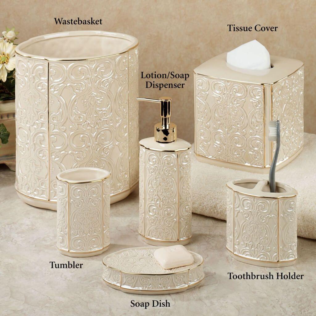 Bathroom: Furla Cream Damask Ceramic Bathroom Accessories With Gold ...