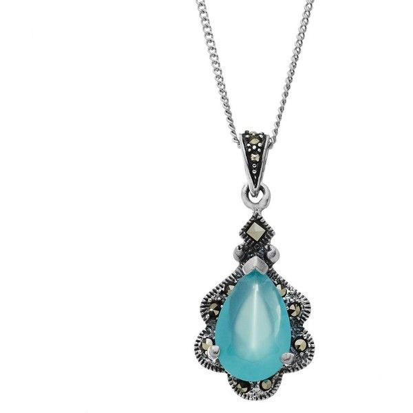 Tori Hill Simulated Apatite & Marcasite Sterling Silver Teardrop... (46 CAD) ❤ liked on Polyvore featuring jewelry, necklaces, white, sterling silver chain necklace, sterling silver necklaces, sterling silver pendant, necklaces & pendants and sterling silver pendant necklace