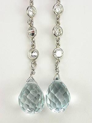 Vintage Style Aquamarine Dangle Earrings Ea 1204