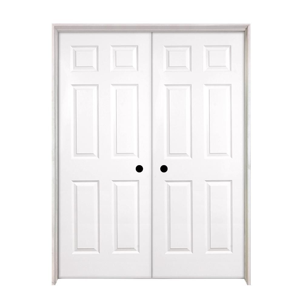Steves Sons 60 In X 80 In 6 Panel Smooth Hollow Core Primed White Classic Composite Doub Prehung Interior Doors Interior Closet Doors French Doors Interior