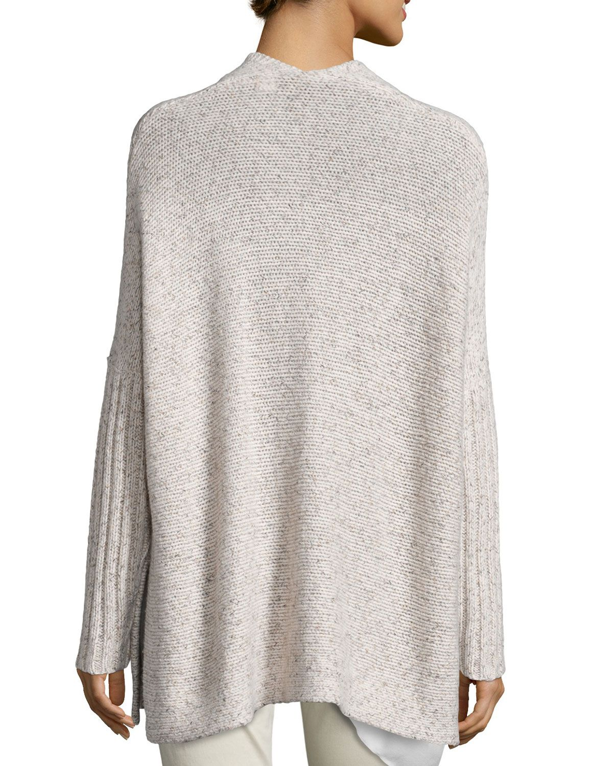 Eileen Fisher Fisher Project Tweed Poncho, Reclaimed Cashmere-Blend Scarf, Silk Asymmetric Draped Shell & Sueded Organic-Stretch Sateen Jeans