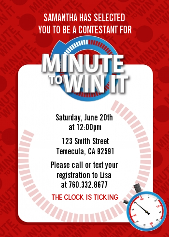 Minute To Win It Inspired Birthday Party Invitations Relief