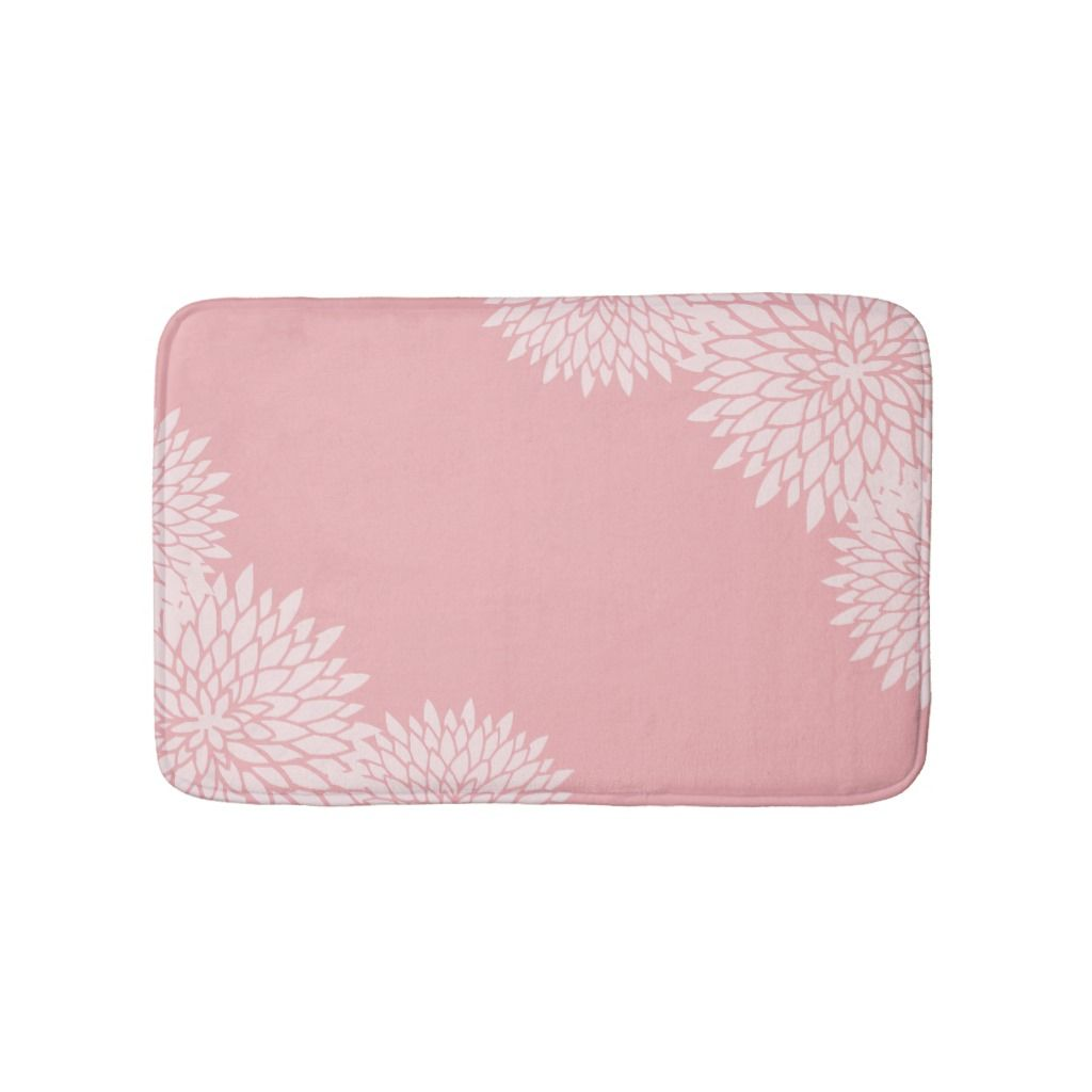 Modern Pink And White Floral Bath Mat Zazzle Com Floral Pink