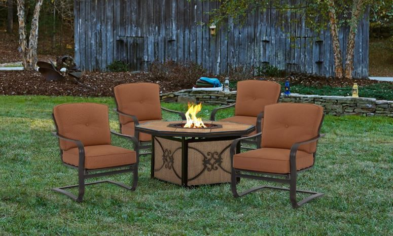 Palm Bay 5 Pc Outdoor Dining Set With Fire Pit Clearance Outdoor Furniture Patio Dining Furniture Clearance Patio Furniture
