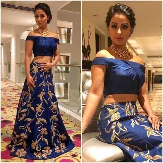 bd2607371a6b3d Hina Khan In Blue Cold Shoulder Skirt Top