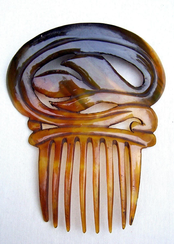 Antique Hair Comb Victorian Spanish Steer Horn Comb Hair Ornament Headpiece Headdress Hair Jewelry Antique Hair Combs Hair Ornaments Hair Decorations