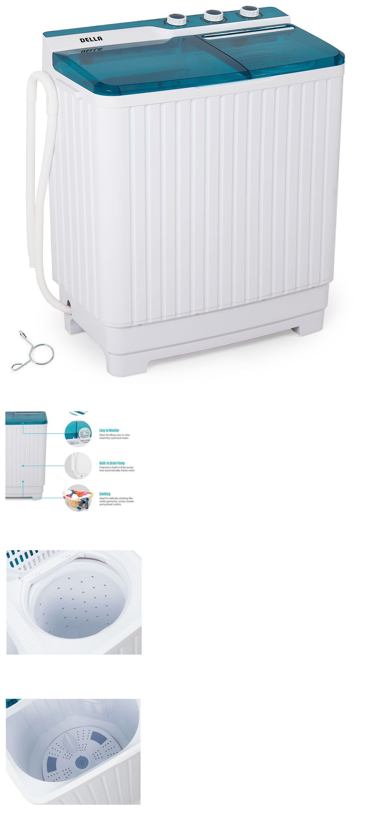 Washing Machines 71256 Portable Compact Twin Machine Washer Spin Dry Cycle 9kg Travel Rv Dorm It Now Only 143 99 On Ebay