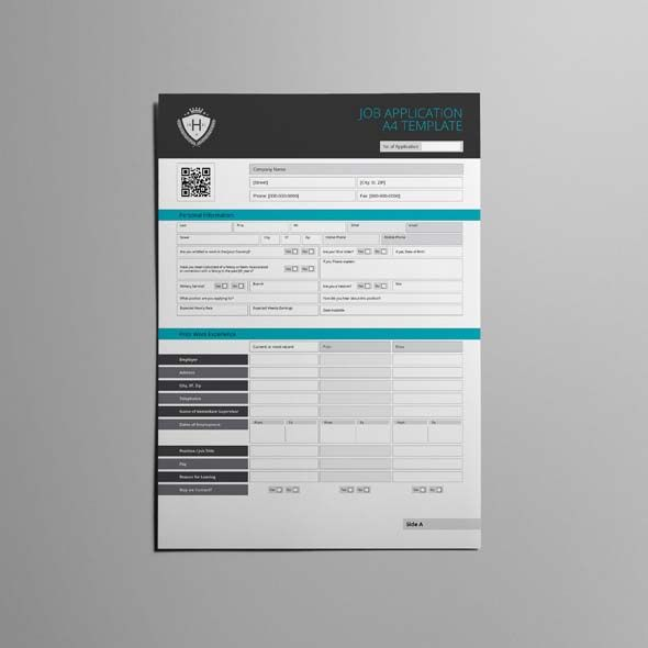 Job Application A4 Template CMYK \ Print Ready Clean and - job application template