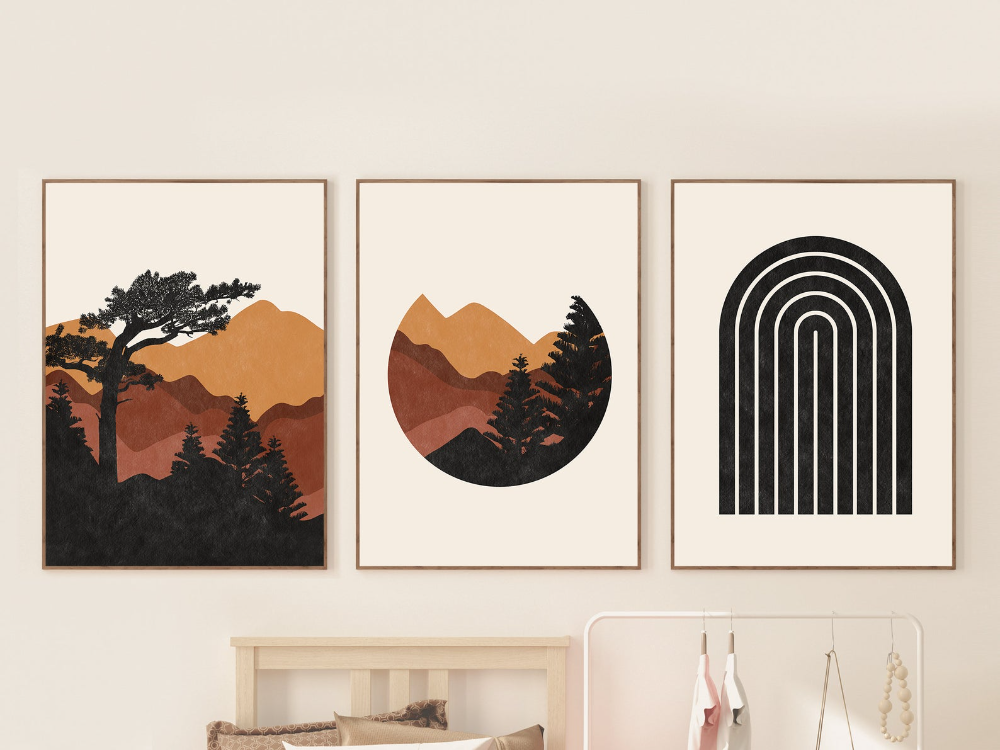Mid Century Modern Mountain Print Set Of 3 Abstract Etsy In 2020 Geometric Wall Art Abstract Minimal Wall Art