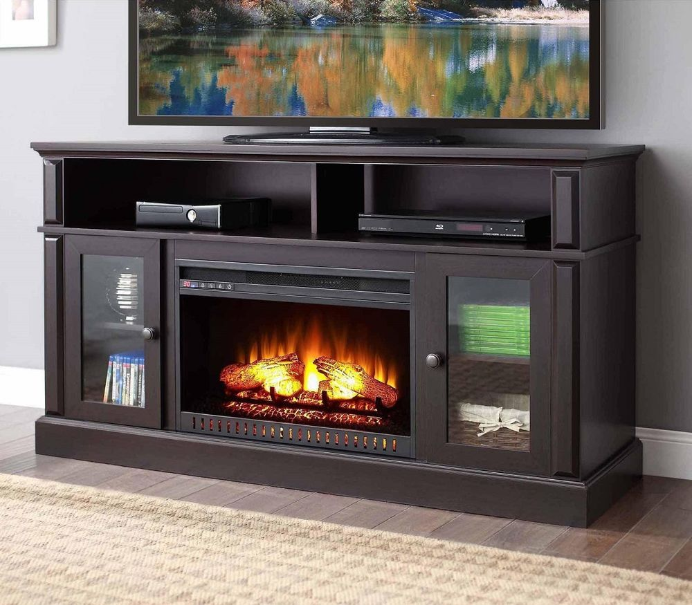 Electric fireplace tv stand entertainment center heater media