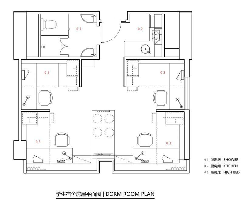 Student apartment complex revitalizes space efficiency for Small apartment complex plans