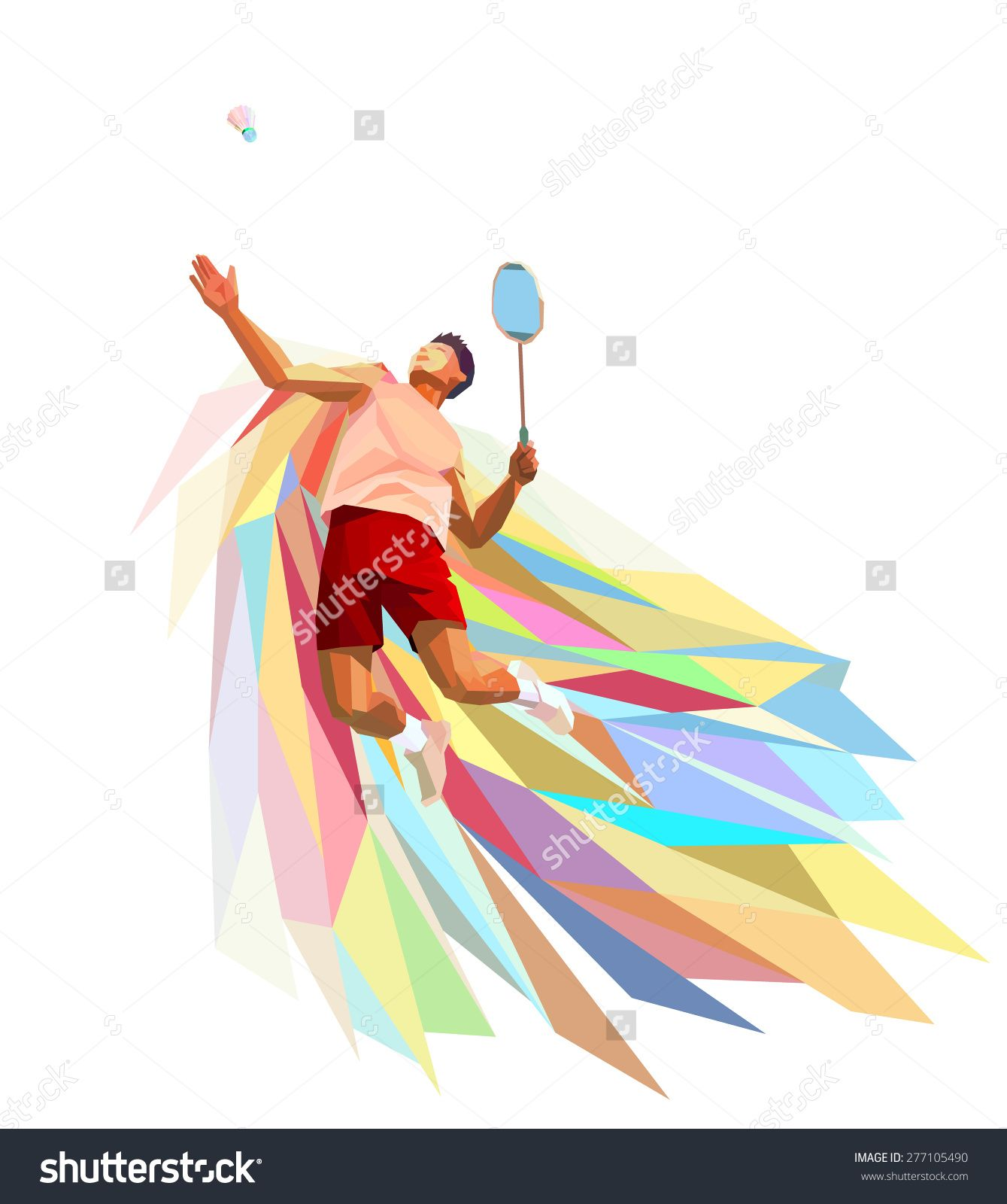 Polygonal geometric professional badminton player on