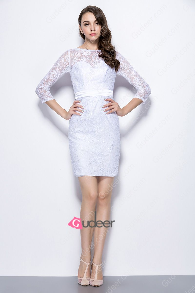 Slim fit wedding dresses  Illusion Neck Three Quarter Sleeve Slim Fit Short Lace Bridesmaid