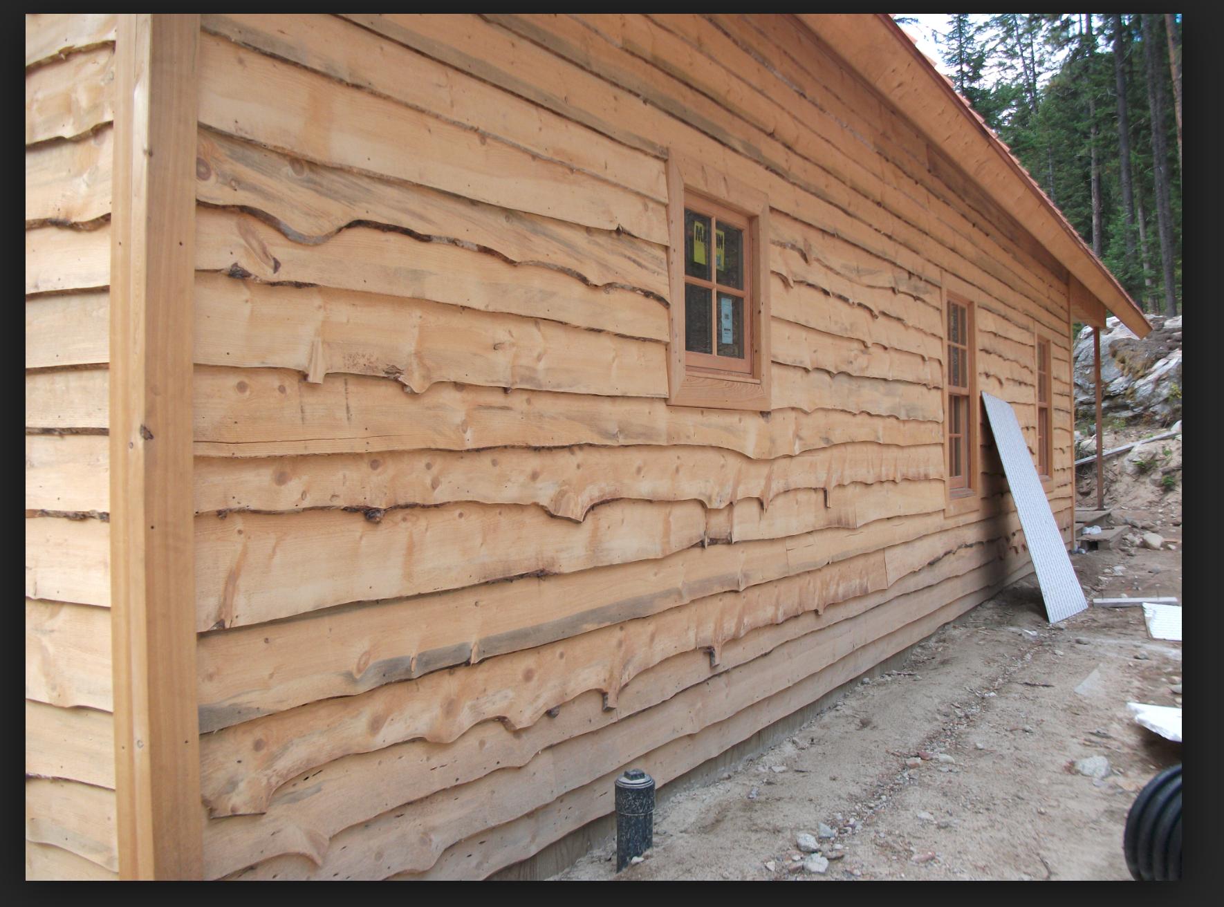 Live Edge Siding Before It Weathers Wood Siding Exterior Wood Cladding Exterior Rustic Wood Floors