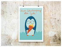 Schulanfang Print Pinguin A4 von Maedchenwahn