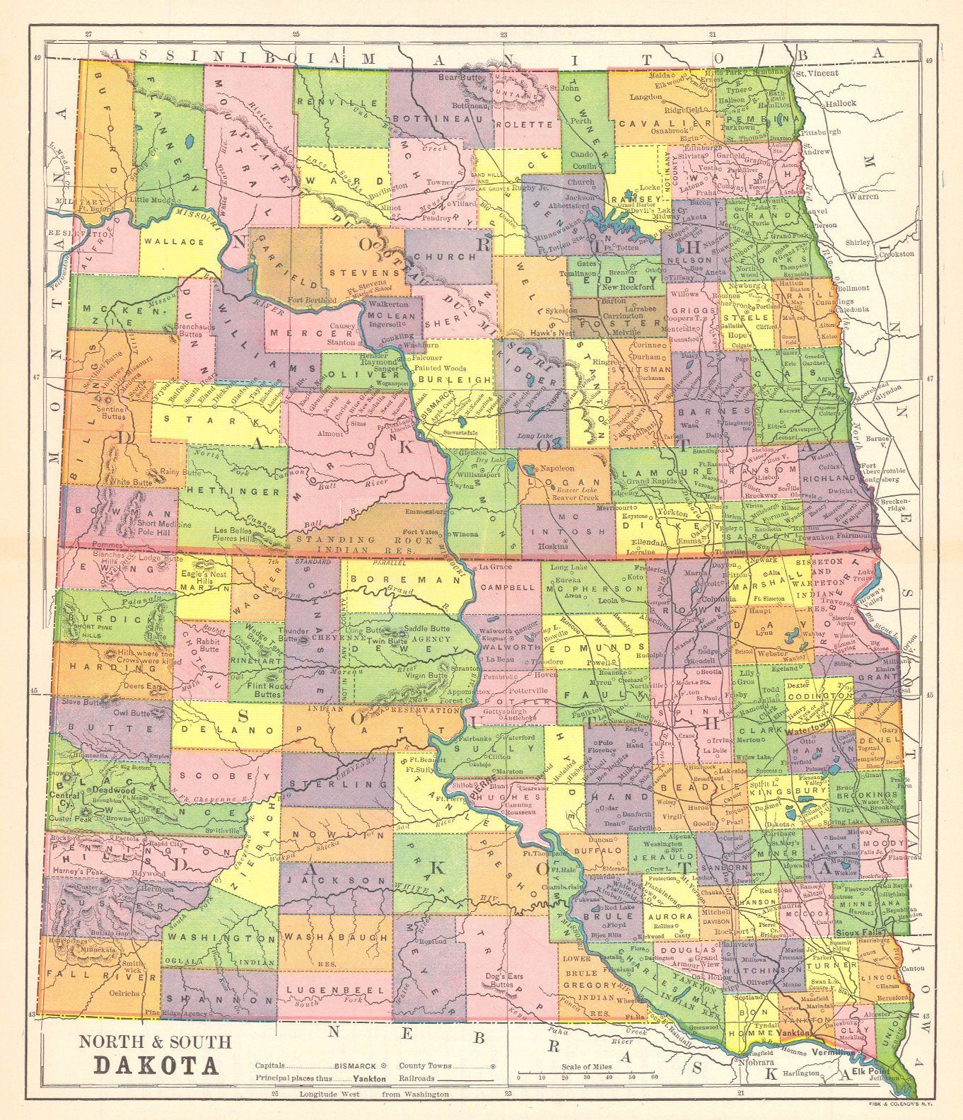 north and south dakota map Map Antique North South Dakota South Dakota North South North north and south dakota map