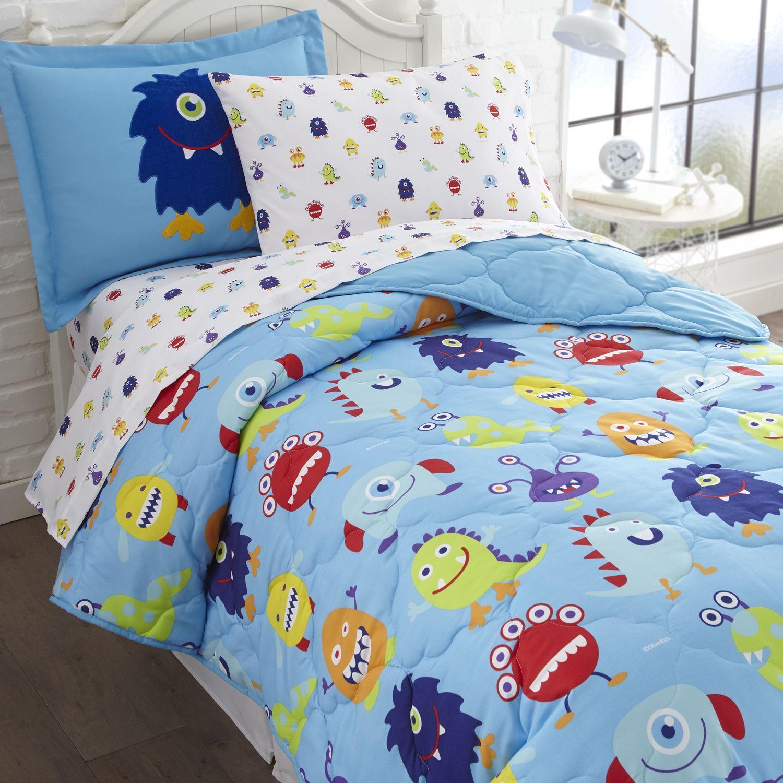 olive kids monsters full size 7 piece bed in a bag set | monster