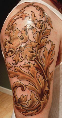 shoulder cap scroll work of acanthus leaves tattoo ideas inspiration pinterest barock. Black Bedroom Furniture Sets. Home Design Ideas