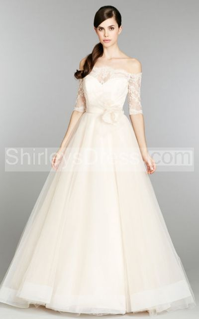 Classic Off the Shoulder Tulle Ball Gown With 3/4 Lace Sleeve