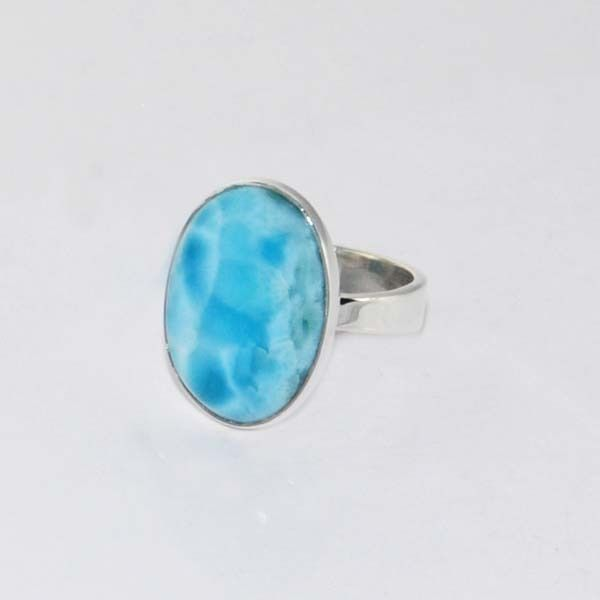 Natural Larimar Dominican Gemstone 925 Solid Sterling silver Ring US Size-8 #Rananjay #HandmadeSolitairering