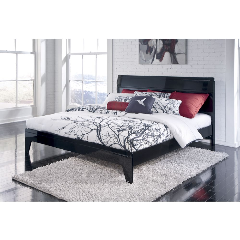 Howick Black Bedroom Queen Platform Bed Queen platform